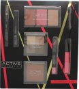 Active Cosmetics Glamour To Go Gavesett Eyeliner + 6.5ml Mascara + 4 x 2.5g Øyenskygger + 10g Bronzer + 2 x 6g Blusher + 6g Highlighter + 10.5ml Lipgloss + 3.3g Lip Crayon + Applikator