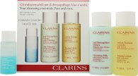 Clarins Cleansing Essentials Face and Eyes Gift Set - Dry/Normal Skin 30ml Instant Make Up Remover + 100ml Anti Pollution Cleansing Milk + 100ml Toning Lotion