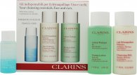 Clarins Cleansing Essentials Face and Eyes Gift Set - Oily/Combination Skin 30ml Instant Make Up Remover + 100ml Anti Pollution Cleansing Milk + 100ml Toning Lotion