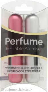 Pressit Refillable Perfume Atomiser Duo Pack - Silver & Pink