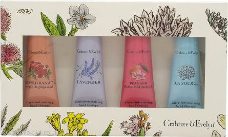 Crabtree & Evelyn Hand Therapy Gift Set 4 x 25ml Hand Cream (Lavender + La Source + Pomegranate Argan & Grapeseed + Pear and Pink Magnolia)