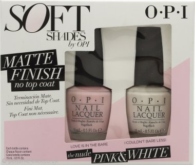 OPI Soft Shades Matt Pink & White Duo Gift Set 2 x 15ml Nail Lacquer