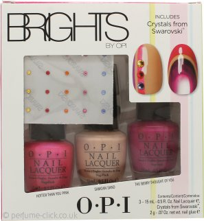 OPI Nail Polish Brights Gift Set 15ml Hotter Than You Pink + 15ml Samoan Sand + 15ml The Berry Thought of You + Crystals from Swarovski + 2g Nail Glue