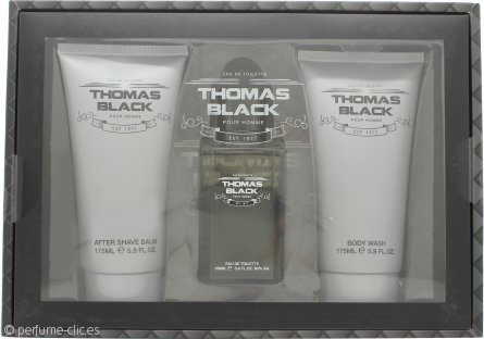 Laurelle Thomas Black Set de Regalo 100ml EDT Vaporizador + 175ml Gel Corporal + 175ml Bálsamo Aftershave