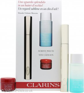 Clarins Wonder Gift Set 7ml Volume Mascara + 30ml Eye Make Up Remover + 4ml Instant Smooth Perfecting Touch MakeUp Base