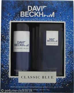 David Beckham Classic Blue Gift Set 150ml Deodorant Body Spray + 75ml Perfume Deodorant Spray