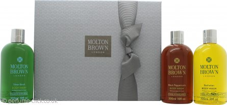 Molton Brown Men Signature Washes Gift Set 3 x 300ml Body Wash (Black Peppercorn + Bushukan + Silver Birch)