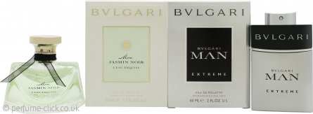 Bvlgari The Duo for Him and Her Gift Set 50ml EDT Mon Jasmin Noir L'Eau Exquise + 60ml EDT Man Extreme