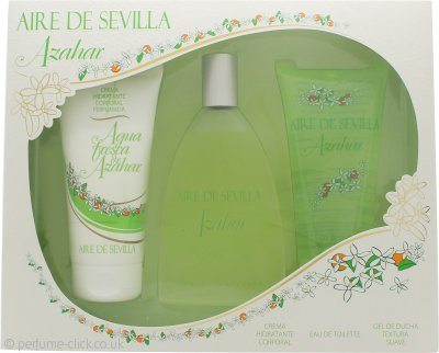 Instituto Español Agua Fresca de Azahar Aire de Sevilla Gift Set 150ml EDT Spray + 150ml Exfoliant Gel + 150ml Body Cream