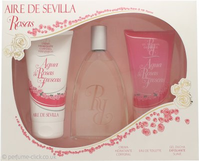 Instituto Español Aire de Sevilla Agua de Rosas Frescas Gift Set 150ml EDT Spray + 150ml Shower Gel + 150ml Body Cream