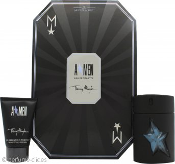 Thierry Mugler A*Men Rubber Flask Set de Regalo 50ml EDT Rellenable + 50ml Champú Cabello y Cuerpo