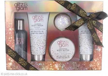 Style & Grace Glitz & Glam Pamper Me Gorgeous Gift Set 60ml Body Butter + 120ml Bubbling Bathing Gel + 110ml Body Wash + 110ml Body Polish + 50g Bath Fizzer