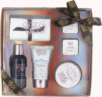 Style & Grace Glitz & Glam Sparkly Does It! Gift Set 80ml Body Wash + 60ml Body Butter + 120ml Body Polish + 2 x 35g Bath Fizzers + Face Towel