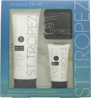 St Tropez Confezione Regalo 200ml Gradual Tan Everyday Lozione Corpo Medio/Scura + 50ml Gradual Tan Everyday Lozione Viso + 12g Cipria Abbronzante