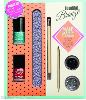 Sunkissed Beautiful Bronze Mani Magic Gift Set 2 x 8ml Nail Polish + 5g Nail Gems + Nail File + Cuticle Stick + Dotting Tool