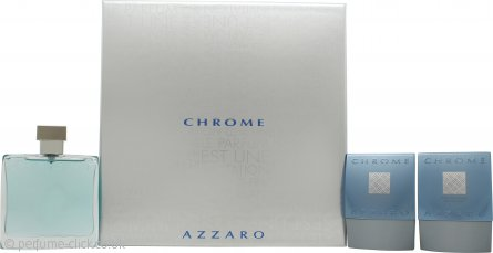 Azzaro Chrome Gift Set 100ml EDT + 75ml Aftershave Balm + 75ml All Over Shampoo