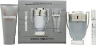 Paco Rabanne Invictus Gavesæt 100ml EDT Spray + 100ml Shower Gel + Mini 10ml EDT