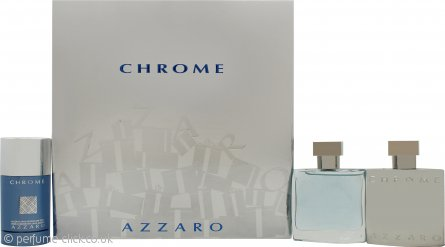 Azzaro Chrome Gift Set 50ml EDT + 50ml Aftershave Lotion + 75ml Deo Stick