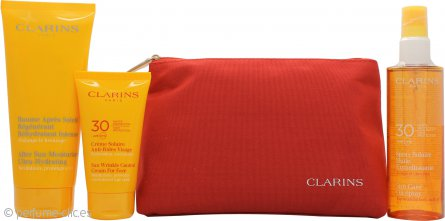 Clarins Sun Protection Essentials Set 75ml Sun Wrinkle Crema UVB30 + 150ml Sun Care Vaporizador UVB30 + 200ml After Sun Ultra Hidratante + Bolsa Viaje