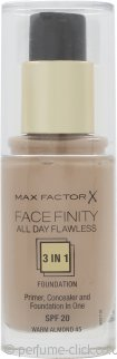 Max Factor Facefinity All Day Flawless 3 in 1 Foundation SPF20 30ml - 45 Warm Almond