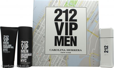 Carolina Herrera 212 VIP Men Gift Set 100ml EDT + 100ml Bath & Shower Gel + 150ml Deodorant Spray