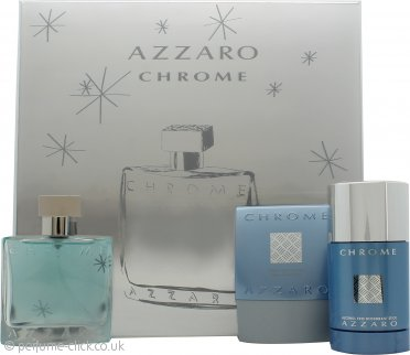 Azzaro Chrome Gift Set 50ml EDT + 75ml After Shave Balm + 75ml Deo Stick