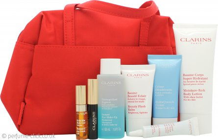 Clarins 7 Meraviglie di Bellezza Gift Set 100ml Moisture Rich Body Lotion + 15ml Beauty Flash Balm + 30ml Hydra Quench Cream + 50ml Eye Make Up Remover + 10ml Eye Gel + 3ml Wonder Perfect Mascara + 2.8ml Eye Comfort Gel + Cosmetic Bag
