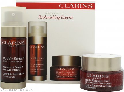 Clarins Replenishing Experts Gift Set 50ml Super Restorative Day Cream + 30ml Double Serum Age Control
