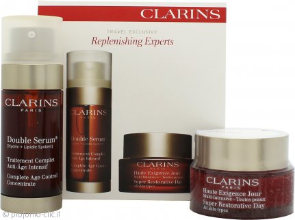 Clarins Replenishing Experts Confezione Regalo 50ml Super Restorative Crema Giorno + 30ml Double Serum Age Control
