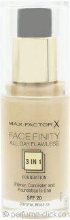 Max Factor Facefinity All Day Flawless 3 in 1 Foundation SPF20 30ml - 33 Crystal Beige