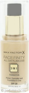Max Factor Facefinity All Day Flawless 3 in 1 Base SPF20 30ml - 33 Crystal Beige