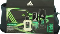 Adidas Sport Field Gift Set 100ml EDT + 150ml Body Spray + 250ml Shower Gel + Bag