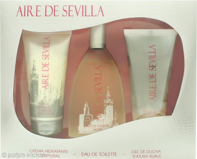 Instituto Español Aire de Sevilla Presentset 150ml EDT Spray + 150ml Exfoliant Gel + 150ml Body Cream