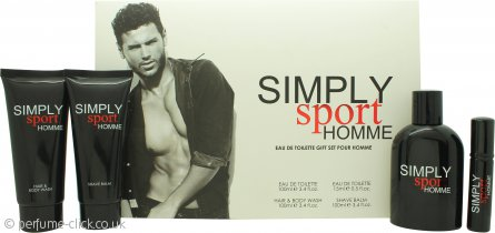 Simply Sport Homme Gift Set 100ml EDT + 100ml Aftershave Balm + 100ml Hair & Body Wash + 15ml EDT