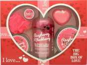 I Love... A Big Box Of Love Raspberry & Blackberry 500ml Bubble Bath + 100ml Sugar Scrub + 100ml Body Butter + 10ml Lip Balm + 60g Soap + Sponge