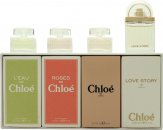 Chloé Miniatures Gift Set 5ml L'eau de Chloé EDT + 5ml Roses De Chloé EDT + 5ml Chloé EDP + 7.5ml Love Story EDP