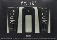 FCUK FCUK 3 Geschenkset 100ml EDT + 200ml Hair and Body Wash + 200ml Aftershave Balm