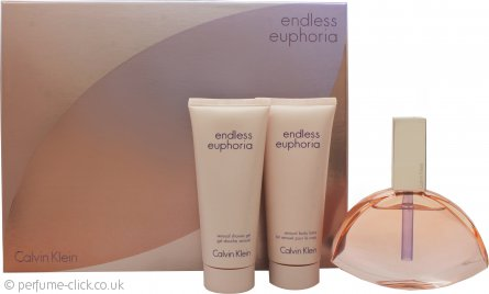 Calvin Klein Endless Euphoria Gift Set 125ml EDP Spray + 100ml Body Lotion + 100ml Shower Gel
