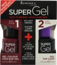 Rimmel Super Gel Confezione Regalo 12ml Smalto Unghie in 025 Urban Purple + 12ml Top Coat