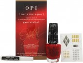OPI Gwen Stefani Gift Set 15ml Nail Polish in Over & Over A-Gwen + 2g Nail Glue + Nail Stickers