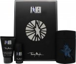 Thierry Mugler A*Men Set de Regalo 100ml EDT Rubber Flask + 50ml Champú Cabello & Cuerpo + 20ml Desodorante en Barra