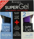 Rimmel Super Gel Gift Set 12ml Nail Polish in 052 Blue Babe + 12ml Top Coat