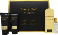 Simply Gold The Fragrance Gift Set 100ml EDP + 100ml Body Lotion + 100ml Shower Gel + 15ml Purse Spray