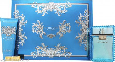 Versace Man Eau Fraiche Gift Set 100ml EDT + 100ml Bath & Shower Gel + Money Clip