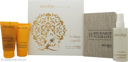 Decleor Recharge Your Life Awakening Box Set de Regalo 100ml Aurabsolu Refreshing Mist + 50ml Aroma Cleanse Smooth Crema Exfoliante + 50ml 1000 Grain Exfoliante Corporal + Tarjeta Yoga + Blog de Notas