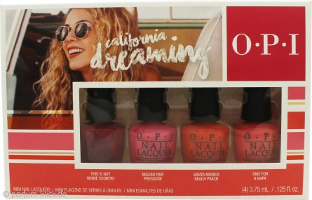OPI California Dreaming Mini Gift Set 4 x 3.75ml Nail Polish in This Is Not Whine Country + Malibu Per Pressure + Santa Monica Beach Peach + Time for A Napa