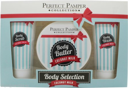Perfect Pamper Coconut Milk Gavesett 100ml Body Scrub + 220ml Body Butter + 100ml Body Wash