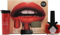 Ciate Velvet Manicure Scarletmitten Gift Set 13.5ml Boudoir Nail Polish + 8.5g Red Crushed Velvet Powder + Little Black Brush